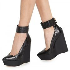 NEW $325 9.5 BCBGMAXAZRIA Arcade Wedge Sandals Platform Cuffed Ankle Croc Black