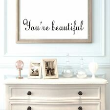 You Are Beautiful Mirror Decal Bathroom Decor English Proverbs Wall Sticker