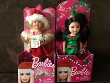 2 Mattel Barbie Chelsea and friend Christmas Dolls