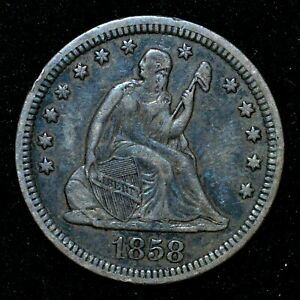 1858-P SEATED LIBERTY QUARTER ✪ XF EXTRA FINE ✪ 25C SILVER L@@K A87 ◢TRUSTED◣