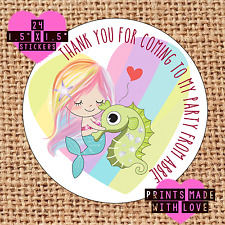 Personalised mermaid bunnys  birthday party bag , sweet cone stickers MB