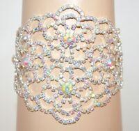 PULSERA mujer plata cristales strass ceremonia dama novia elegante fiesta E100