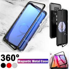 Samsung Galaxy 8 S9 Plus Note 9 Magnetic Shock Absorption Glass Case Metal Cover