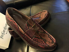 YSL, SAINT LAURENT LUXURY PYTHON COGNAC LOAFERS M/ITALY SIZES 40-43 FIT USA 7-10