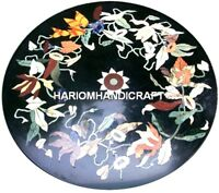 Marble Coffee Round Table Top Semi Precious Mosaic Real Inlay Garden Decor H2044