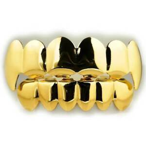18K Gold Plated GRILLZ Vampire Fang Hip Hop Top and Bottom Stainless Steel Grill