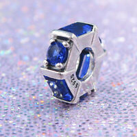 Authentic 100% 925 Sterling Silver Blue Clear CZ Ice Sculpture Spacer Charm