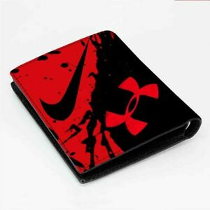 Fashion Men's UNDER ARMOUR RED ICON Leather Wallet ID Credit Card Holder
