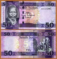 South Sudan, 50 Pounds, 2015, P-9b, UNC > Elephants