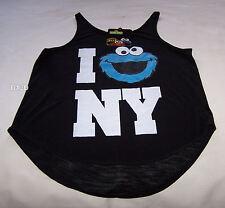 Sesame Street Cookie Monster Ladies Black Printed Singlet Top Size XS New