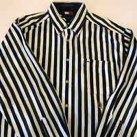 Tommy Hilfiger Button Down Polo Shirt Green Blue Striped Long Sleeve Vintage
