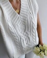H&M Cable Knit Slipover Vest Jumper White Size L Bloggers Favourit Ecru Sold Out