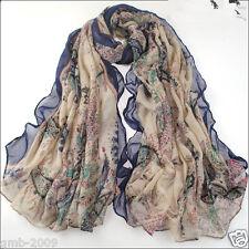 Lady Women's Fashion Blue Long Big Soft Cotton Voile Paisley Scarf Shawl Wrap