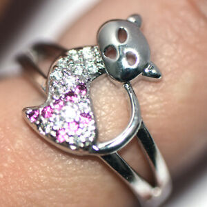 Lovely Cat Rings 925 Silver Rings Red Ruby Jewelry for Womens Girls Size 7