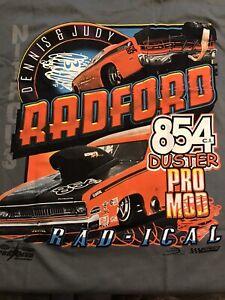 "NHRA DRAG RACING ""PRO MOD DUSTER 854"" DENNIS RADFORD T SHIRT   SIZE XL"