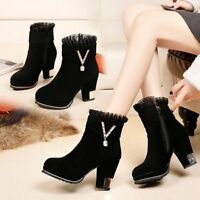 Womens Block High Heel Ankle Boots Platform Chunky Suede Black Lace Shoes Sz 2-6