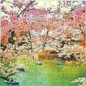 New Hand Cut Japanese Cherry Blossoms 101-piece Jigsaw Puzzle in plywood box