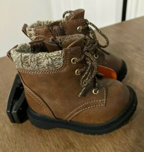 Wonder Nation Toddler Girls Brown Sweater Lined Moto Casual Boots Shoes 2 6