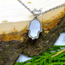 Small Stainless Steel Mother of Pearl Hamsa Necklace