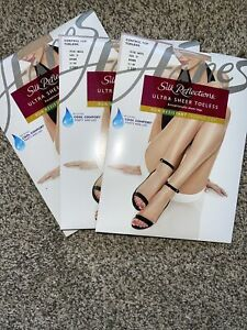Hanes Silk Reflections pantyhose, IJ (plus) Ultra Sheer Toeless Bisque NWT