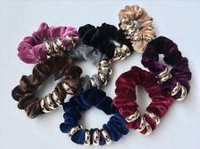 6 Velvet Hair Elastic Scrunchies Bobbles Multi Colours Pack Mix Set Girls Womens