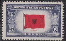 Scott 918- Flag of Albania, Overrun Countries Series- MNH 5c 1943- unused