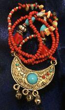 "Vintage Bohemian Tibetan Ethnic Red Bead Silver Tone Pendant 30"" Long Necklace"