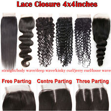 Brazilian Virgin Hair Top Lace Closure 4x4 Natural Color with Baby Hair Handtied