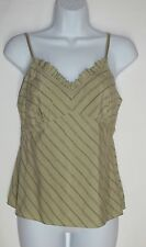 Isaac Mizrahi for Target Green Striped Sleeveless Tank Top Cami sz S Silk Blend