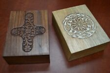 2 PCS HANDMADE ROSEWOOD HAND CARVED WOOD CHEST JEWELRY BOX #SF-293