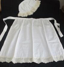 CHILDS WHITE GIRLS WAITRESS APRON PINNY MOP HAT VICTORIAN  EDWARDIAN  fancydress