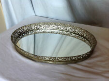 Vintage 1950's Gilt Oval Mirror Tray