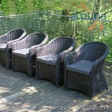 Hochwertiger Polyrattan Sessel - 4er Set - Rundfaser Rattan Gartenmöbel