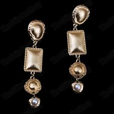 "CLIP ON 3.25""long RETRO pearl EARRINGS square vintage style MATT GOLD big clips"