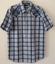 Seven 7 Diamonds Mens Shirt Size XL Blue Plaid Embroidered Short Sleeve EUC