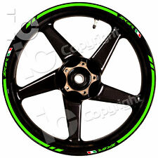 Kit Adesivi Ruote Kawasaki ZX 6 R 636 Racing Verde stickers wheel Pista