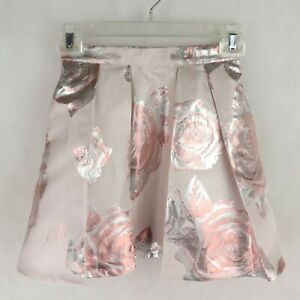 TED BAKER Girls Floral Pleated Skirt Size 6 YEARS 116cm Powder Pink Metallic