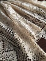 "Antique Italian Hand Knotted Needle Weaving Cotton Lace Tablecloth 50"" Sq Topper"