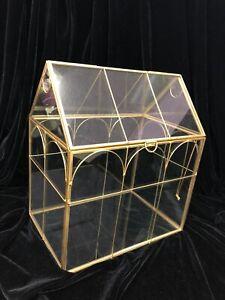 Decorative Gold Color Trim  Metal & Glass Terrarium, House Shape Glass Case Box