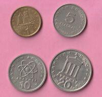 4 Pièces de monnaie de GRECE : Drachme - Apaxmee : 1 + 5 + 10 + 20 DE 1976 / 84