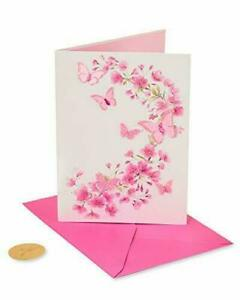 Beautiful Papyrus Blank Card -3D pink flowers & butterflies with gem centers