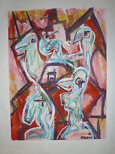 Ozenda Jean-François gouache sur papier signée 1967 art abstrait abstraction