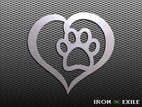 HEART PAW -- Metal Pet Love Sign Dog Cat Wall Art Home Decor Vet Puppy Print