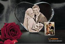 Herz Klein Glas 3D Laser Foto Gravur Geschenkidee 2D in 3D Hochzeit Valentinstag