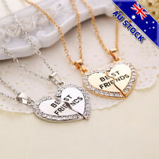 2 Pieces Love Heart CZ Pendant Best Friends Gold and silver Necklace