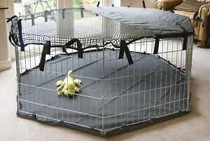 Pet Pen Cover Sun Shade Play Dog Cage Crate Run Fitted Heavy Duty Medium 8 Side