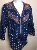 Knox Rose Embroidered Kimono Jacket Navy Cotton Open Top Sz M Tassels Boho EUC!