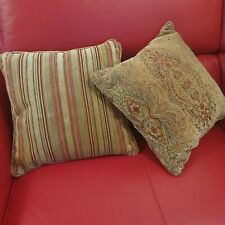 PARKER KNOLL PAIR OF SCATTER TWO-SIDED CUSHIONS BASLOW MEDALLION & STRIPE GOLD