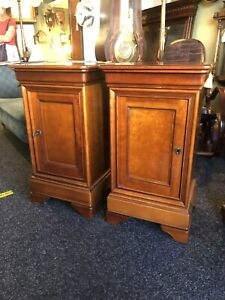 BEAUTIFUL PAIR OF FRENCH SOLID CHERRYWOOD BEDSIDE TABLES WITH SECRET DRAWER