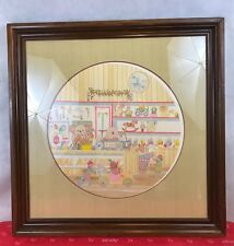Pat Howell Christmas Toy Shop Signed Vintage Framed Print Collectible
